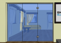 Dveře kyvné jednokřídlé + dva pevné díly - K4