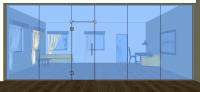 Dveře kyvné jednokřídlé v pevných dílech + světlík - K10