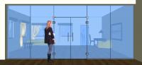 Dveře kyvné dvoukřídlé v pevných dílech + světlík - K11
