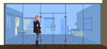 K11 - Dveře kyvné dvoukřídlé v pevných dílech + světlík