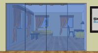 Dveře posuvné dvoudílné ve stavebním otvoru s dvoumi pevnými díly P4