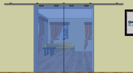 DP2 - Dveře posuvné na stěnu - dvoudílné